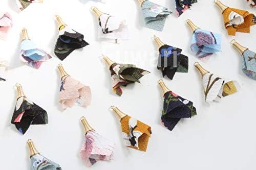 【Fuwari】 シフォン フラワー 花柄 タッセル チャーム 丸カン付き 36個セット アクセサリーパーツ 材料 (9色X各4個)