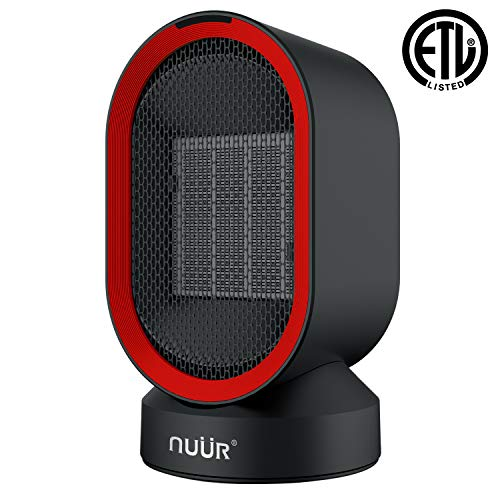 Ceramic Electric Space Heater, with Auto Oscillation Fan, Over-Heat and Tilt Protection, Warm(600w) and Cool Air(5w), Portable, Safe, For Home or Office Ceramic Heaters