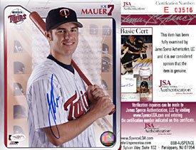 Joe Mauer Autographed / Signed Baseball 8x10 Photo (JSA)
