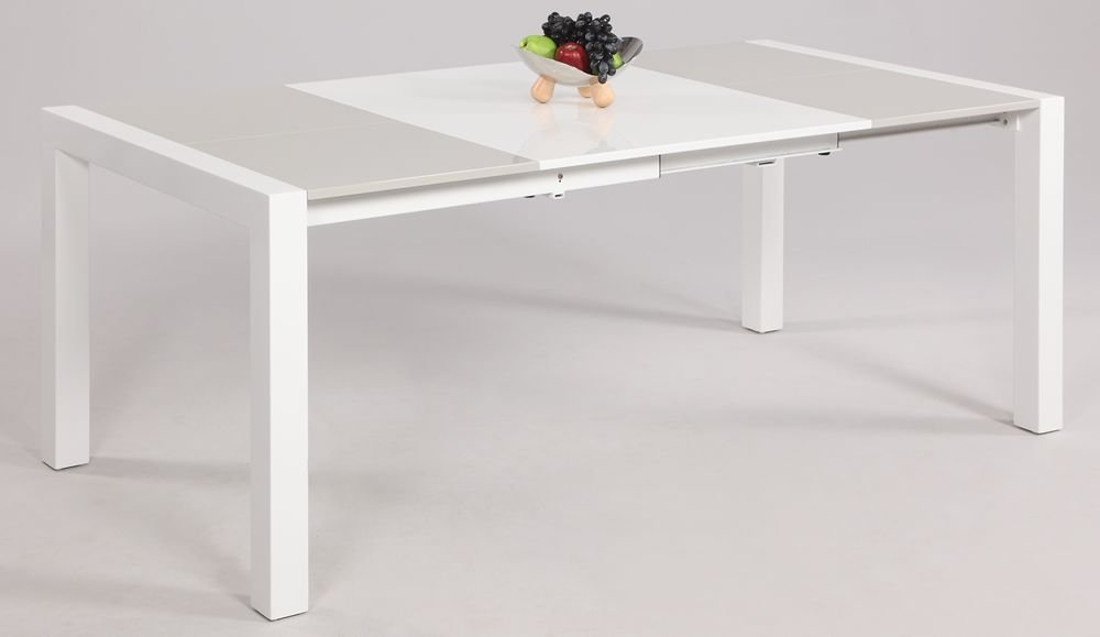 Amazon.com   Chintaly Gina Lacquer Parson Extendable Dining Table In White/Grey    Tables