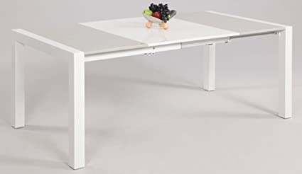 Chintaly Gina Lacquer Parson Extendable Dining Table In White/Grey