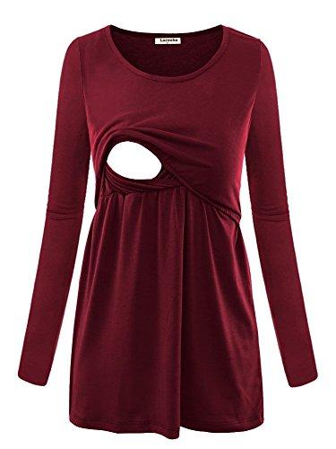 Larenba Nursing Shirts Breastfeeding, Ladies Long Sleeve Casual Maternity Feeding Postpartum Tops Layered Ultral Soft Daily Wear(Red,X-Large)