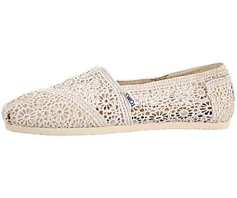Toms Womens Crochet Classics Natural Morocco Casual Shoe 8 Women US