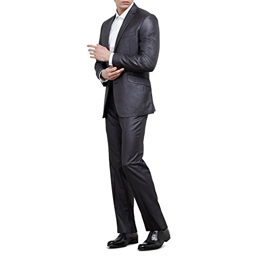 Kenneth Cole Slim Fit Suit (Kenneth Cole REACTION Men's Two Button Slim Fit Suit, Gun Metal, 42 Regular)