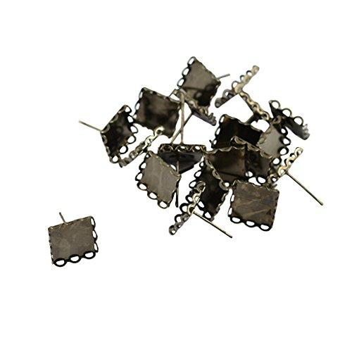 Jili Online 20pcs 10x10mm Square Cabochon Bezel Earrings Stud Blanks Earrings Findings - Metallic Black, 10mm