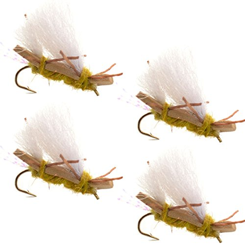 Chubby Chernobyl Ant Golden Foam Body Trout Fly Fishing Flies - 4 Flies - Hook Size 10 - Trout Bass Flies