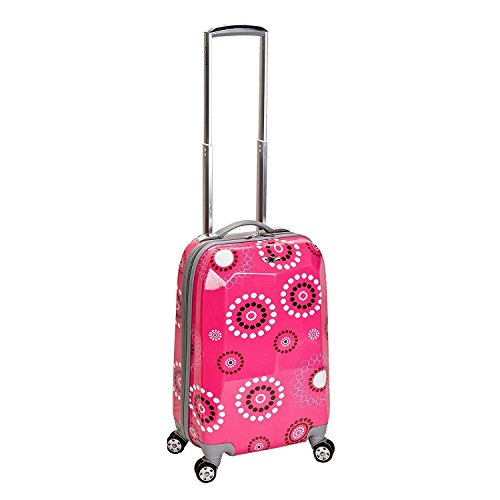 DSOS Girls Hot Pink Black White Floral Dots Theme Carry Luggage Hardtop Hardside Roller Wheel Set, Girls Flower Polka Dot Themed Suitcase Rolling Upright Spinner Wheels by DSOS