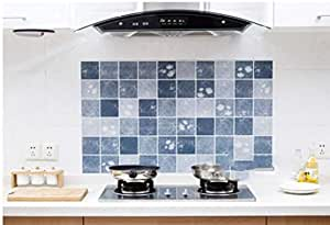 kitchen oil proof paste sticker aluminum foil high temperature resistant fume proof lattice wall sticker qy