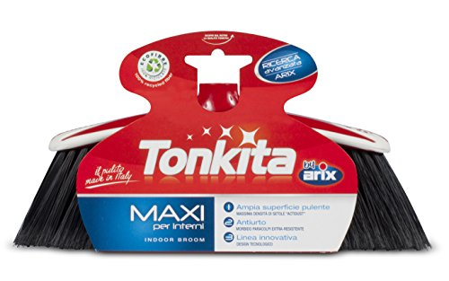 "ALL FOR YOU Italian ARIX TONKITA TK610 Maxi Indoor Broom with EXTENSIBLE 59"" Long Handle"