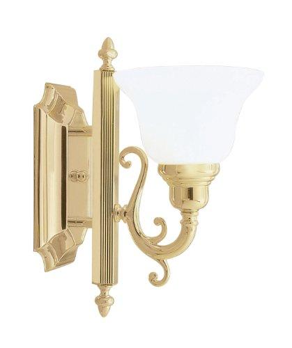 Livex Lighting 1281-02 Bath Vanity with White Alabaster Glass Shades, Polished Brass