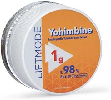 LiftMode Yohimbine HCL Powder Supplement - Fat Burner Supplement Plus Increased Energy and Libido, Yohimbe Bark Extract | Vegetarian, Vegan, Non-GMO, Gluten Free - 1 Gram (400 Servings)