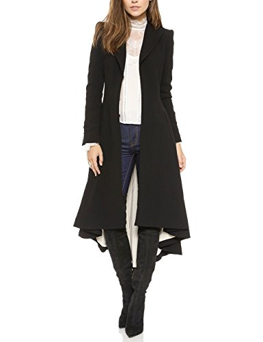 Gameyly Lady Irregular Swallowtail Pleated Lapel Collar Long Trench Coat M Black