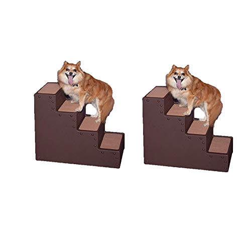 Pet Gear Pet Step IV Small Dog & Cat Stairs for Tall Beds & Couch, Chocolate (2 Pack) (4 Step Tiny Pet Stairs)