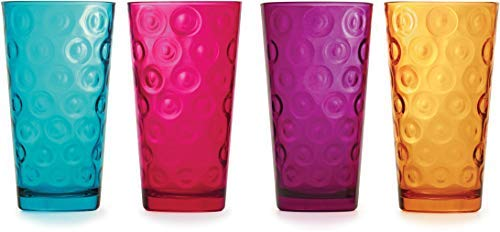 Circleware Circle Tumbler Colored Cooler Beverage Glasses, Heavy Base Set of 4 Drinking Highball, Home Kitchen Cups for Water, Juice, Milk, Beer, Ice Tea, 17 oz, Aqua, Fuchsia, Orange, Purple (Colored Glass Drinking Glasses)
