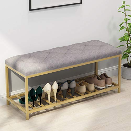 Tribesigns Upholstered Shoe Bench, Modern Shoe Rack with Padded Seat Shoe Storage Shelf Organizer for Entryway, Hallway, Living Room