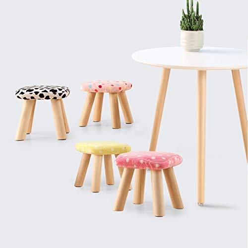 F JZX Square Small Mushroom Flannel Wood Legs Home shoes Small Bench