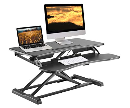 TechOrbits Rise-X Light Standing Desk Converter - Height Adjustable Stand Up Desk Riser - Sit to Stand Desktop Workstation - 32
