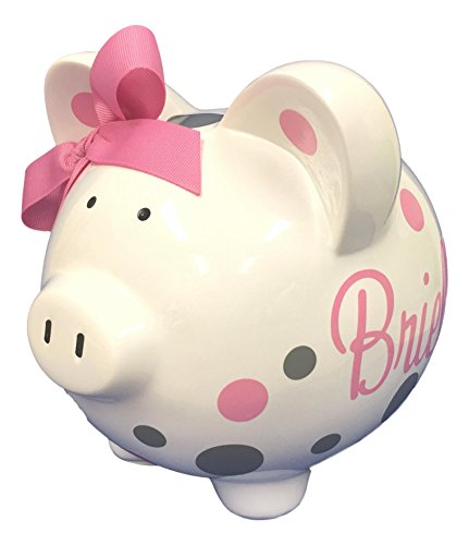 Personalized Piggy Bank with Name and Polka dots, Large Size White Resin with Vinyl Design, Pick Your ()