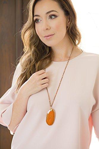 [Handmade Agate Stone Pendant Necklace with Seed Beads] Bronzite-Carnelian ()