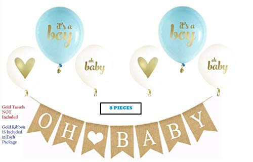 (OH Baby Banner & Balloon Set - Pre-Strung Assembled Burlap Garland - 6 Blue Gold & White Balloons - Its A Boy with Hearts - Baby Shower Gender Reveal Decor)