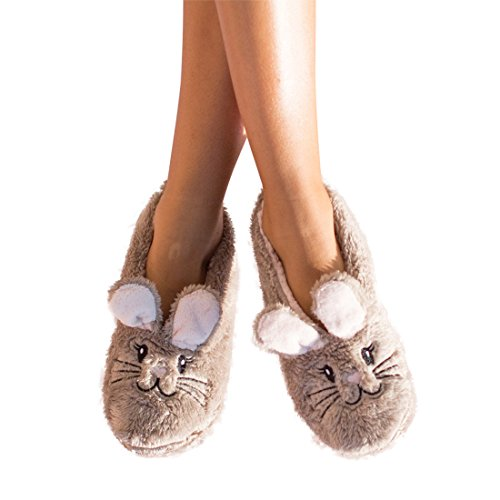 Faceplant Dreams Snuggle Bunny Slipper Footsies,Taupe/Pink,Medium