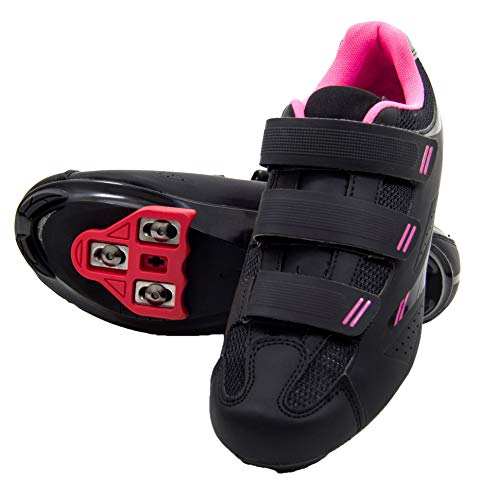 tommaso Pista Women's Spin Class Ready Cycling Shoe Bundle - Black/Pink - Look Delta - 39