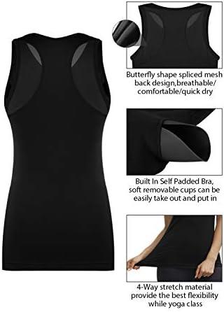 DISBEST Womens Yoga Tank Top Soft Sleeveless Shirt Vest V-Neck Tops Built in Bra