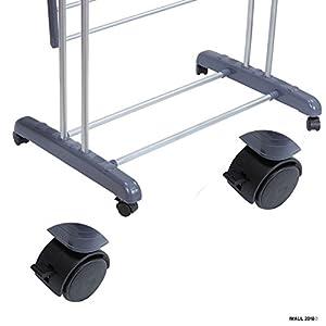 BonBon 3 Tier Clothes Drying Rack Folding Laundry Dryer Hanger Compact Storage Steel Indoor Outdoor (Grey) (Silver)