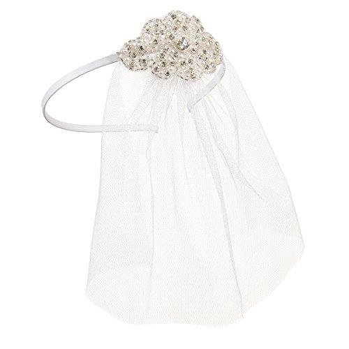Darice David Tutera Beaded Silver Applique and White Tulle Bridal Headband ()