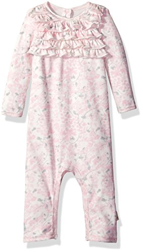 y Girls' Romper Jumpsuit, Long Sleeve One-Piece Coverall, 100% Organic Cotton, Waterlily, 3-6 Months ()