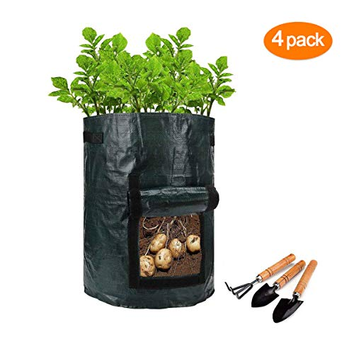 Garden Potato Grow Bag , 4-Pack 7 Gallon Vegetables Plant Grow Bags,Planting for Potato, Carrot, Vegetables Flower Plant