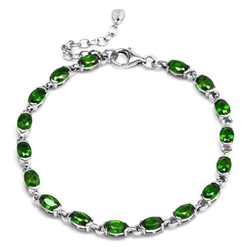 (Genuine Green Chrome Diopside 925 Sterling Silver Half-Bazel-Set Tennis Bracelet)