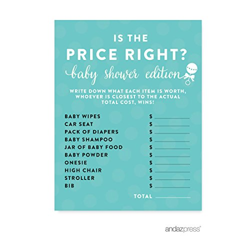 Andaz Press Baby & Co. Baby Shower Collection, Is the Price Right? Game Cards, 20-pack