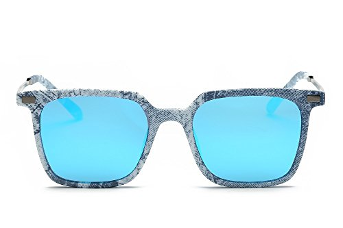 Weidan Hiker Square Eyeglasses Frame Vintage Polarized Sunglasses,Men's and Ladies926 (Cowboy frame / ice blue lenses, - In What 2018 Style Are Sunglasses