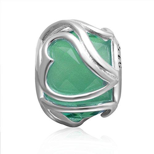 Hoobeads Heart Crystal Charms 925 Sterling Silver Murano Glass Bead for European Bracelet (Green)