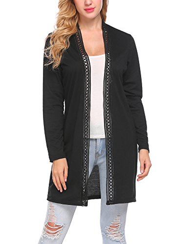 Mofavor Women's Long Sleeve Open Front Lightweight Lace Trimmed Soft Travel Sweater Cardigan