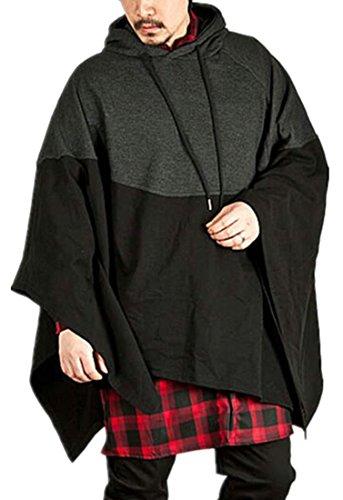 Big And Tall Drawstring Sweatshirt - Lutratocro Men's Drawstring Hooded Cape Poncho Big and Tall Contrast Color Pullover Sweatshirt Dark Grey XXXXL