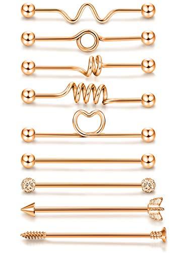 ORAZIO 9PCS 14G Industrial Barbells Cartilage Earrings Body Piercing Jewelry 38MM Rose Gold Tone ()