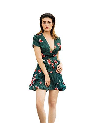 Vaniglia Siyinfushi Women Print Long Sleeve Sexy Deep V-Neck Casual Summer Mini Dress (L, 13-Landi) - Sexy Floral Dresses