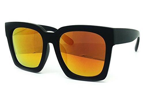 O2 Eyewear 7151 Premium Oversize XXL Women Men Mirror Fashion Sunglasses (Oversized, ORANGE) - Orange Sunglasses Havana