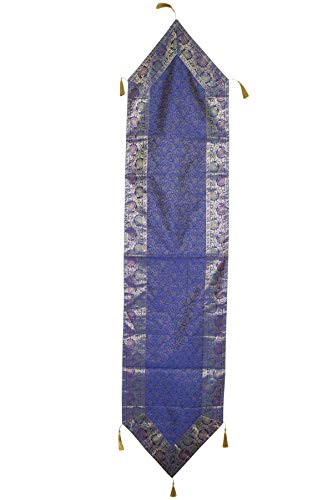 Mogul Interior Ethnic Hand Made Blue Indian Silk Sari Table Runner Home Decor 72x16 ()