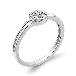 Diamond Fashion Ring in 10K White Gold (1/20 cttw, Colour GH, Clarity I2-I3) (Size-11.5)