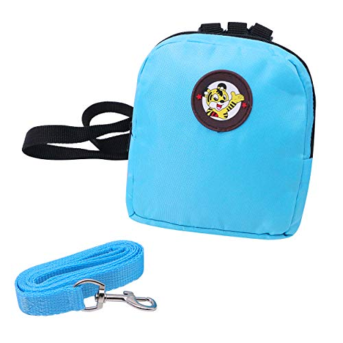 YAODHAOD Pet Cartoon Backpack Harness with Leash, Puppy Dog Cute Back Pack Saddle Bags, Travel Outdoor Hiking Adjustable Leash Saddlebag for Small Dogs (L, Blue)