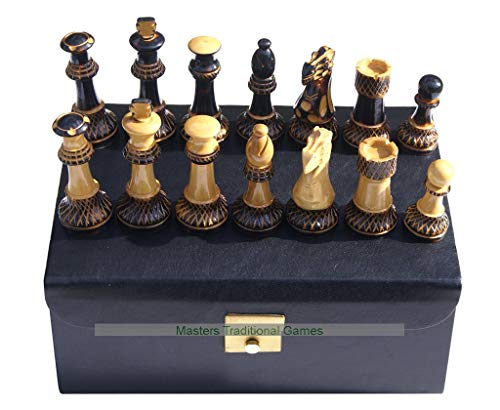 Masters Traditional Games Jester 10x10 Chess Set - Burnt Wood Pieces in Leather Box Black Leather Chess Box