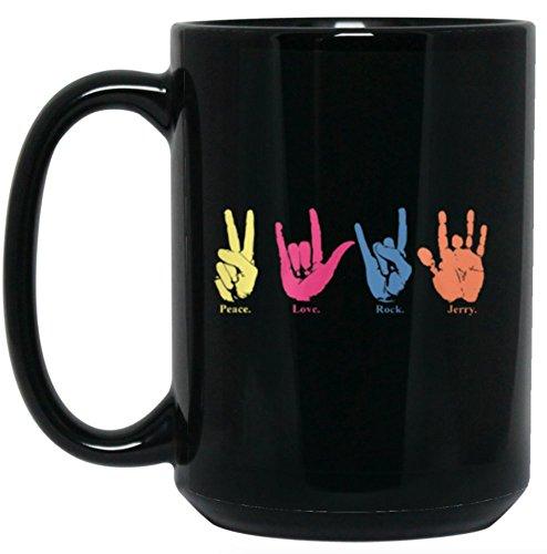 Peace Love Rock Jerry Garcia Handprint Sign Language Mug 15 oz