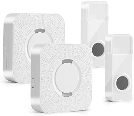Wireless Doorbell Fityou Waterproof Door Bells & Chimes Wireless Kit Operating at 1000 Feet58 Door Bell Chime 5 Levels Volume & LED Flash 2 Buttons 2 Receivers Doorbell for Home Business