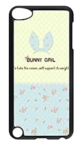 Brian114 Case, iPod Touch 5 Case, iPod Touch 5th Case Cover, Blue Flowers Girl Retro Protective Hard PC Back Case for iPod Touch 5 ( Black )