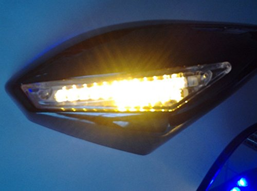 HTT Blue Led Turn Signal Mirror For Honda Cbr 125R 150R Suzuki Sv650S Katana Tl1000R