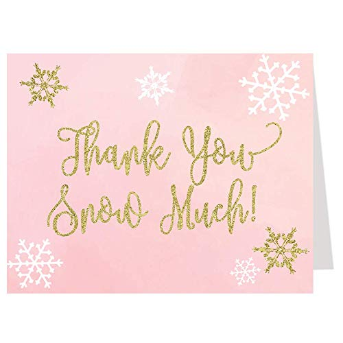 Little Snowflake, Baby Shower, Thank You Cards, Girl Baby Shower, Snowflakes, It's A Girl, Winter Baby Shower, Pink, Gold, Winter Thank You Cards, 50 Pack Folding Thank You Notes with White Envelopes
