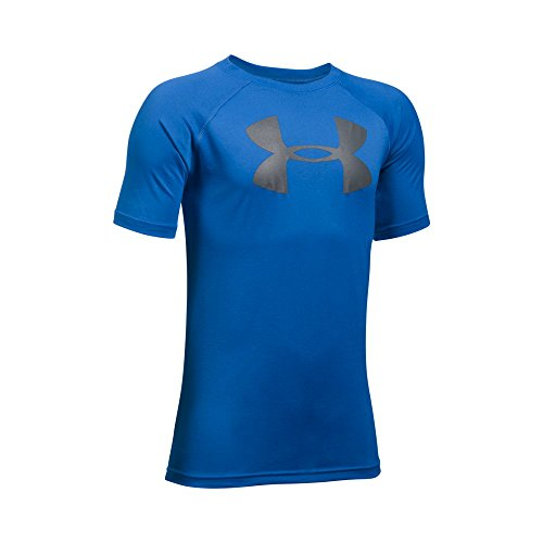 Under Armour Boys' Tech Big Logo Short Sleeve T-Shirt, Ultra Blue/Graphite, Youth Small